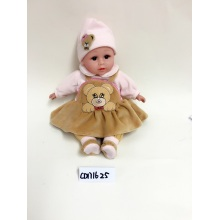 "14"" Brown Dress Bear Sleeping vinyl doll"