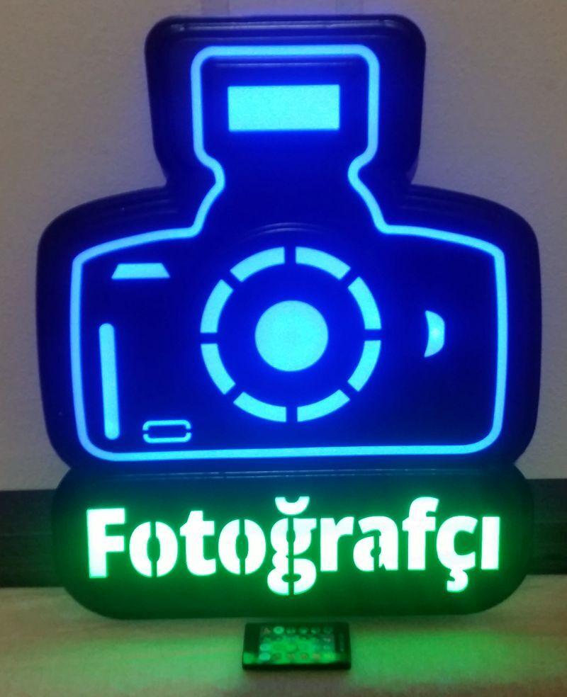 "Led Sign Board PHOTO FOTOĞRAFÇI ""OPERATED 16 COLOR"" 40x48cm"