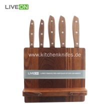 5 pcs Knife Set With Ash Wood Block