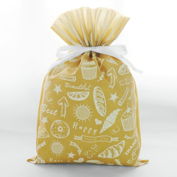 Yellow Non-Woven Daily Drawstring Gift Wrapping Bag