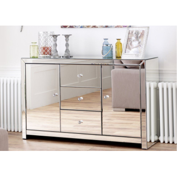 Mirror glass bedside table of bedroom furniture