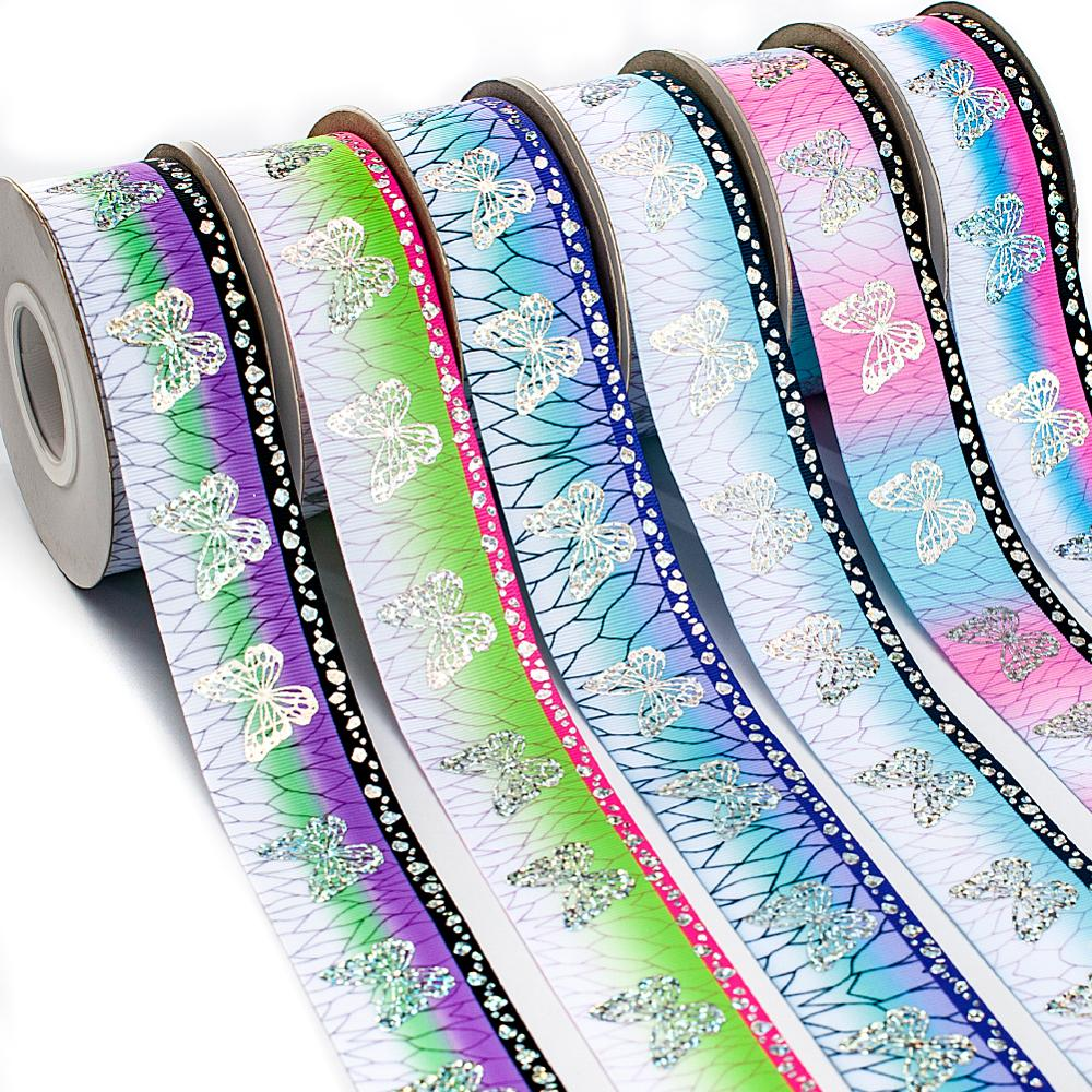Butterfly Laser Silver Grosgrain Ribbon Kimetsu No Yaiba Printed Background