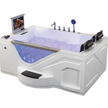Acrylic White Bathtub Jet Whirlpool Bathtub with TV