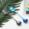 Eco friendly fortune cat shaped stainless steel spoon