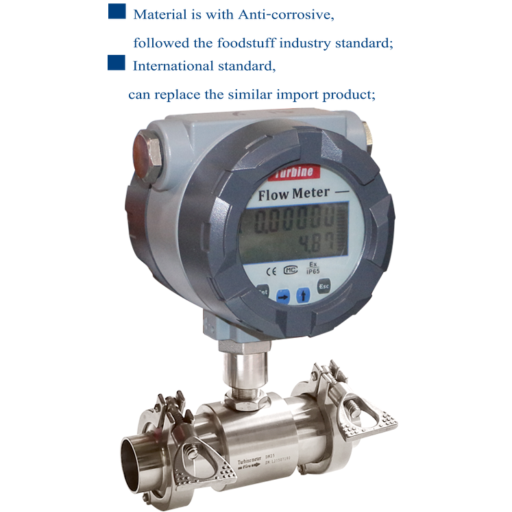 sanitary liquid turbine flow meter