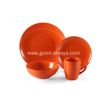 16 Piece Stoneware Two Tone Color Dinner Set  Orange