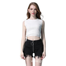 Hoop Zipper Wide-Leg Denim Shorts Jeans Lace Hot Pants