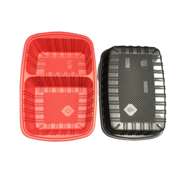 Black red color food packaging blister sushi tray