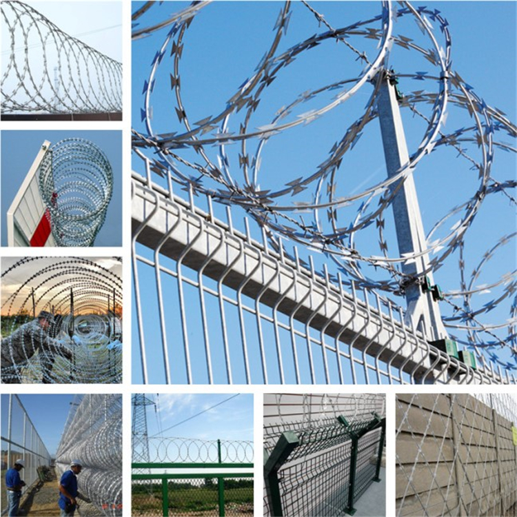 Single loop rust proof galvanized razor barbed wire