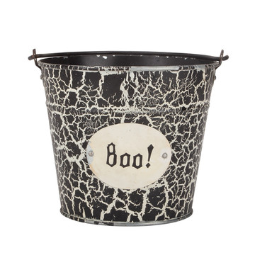 Trick or Treat Halloween Candy Corn Tin Bucket