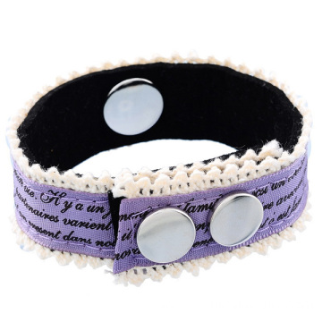 Mixed Colors Fabric Printed Words Noosa Bracelet With Button