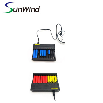 10 slotsPortable USB battery charger for li-ion 1865014500