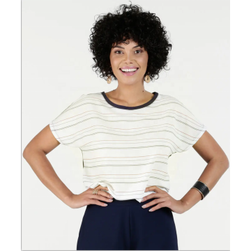 Front stripe printed polyester Back solid polyester Blouse