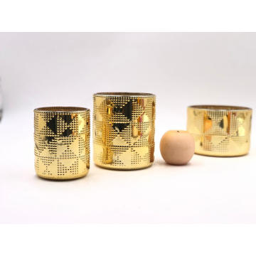 New desgin electroplate gold glass jar for candle