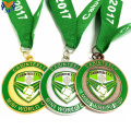 Custom gold metal green enamel football medal
