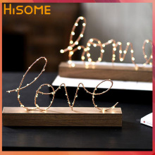 Love Letter Signs Led Home Decoration Valentines Day Gift Wooden Base Wire Led Light for Bedroom Illumination Table Lamp