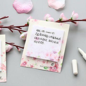 Fresh Cherry Sakura Natural Memo Pad Sticky Notes Shopping Check List School Supply Label DXAB