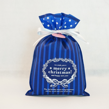 Blue Christmas Drawstring Gift Wrapping Bags