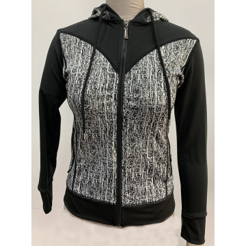 Ladies knit hoodie with animal print activewear jacket