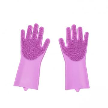 Silicone washing gloves with scrubber