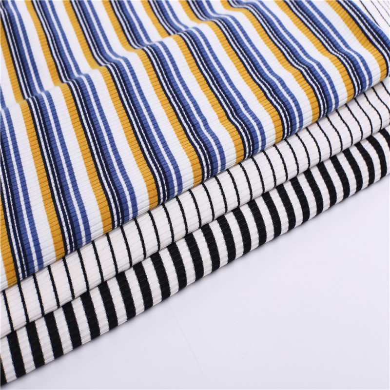 Soft Touch Knitted Striped Rib Fabrics For Sale