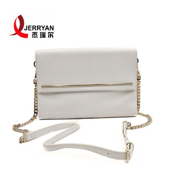 White Leather Clutch Crossbody Bags with Strap