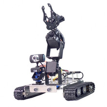 New GFS WiFi Bluetooth Smart Robotic Arm Tank Car Kit With Stainless Steel Chassis Support XR BLOCK Linux For Arduino2560