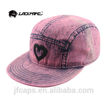 love applique denim pink snapback hiphop flat cap