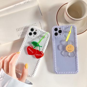 Fresh Korea Cute Pendant fruit Cherry Sun flower Phone case for iphone X XR XS 11pro MAX 7 8 plus Photo frame back cover funda