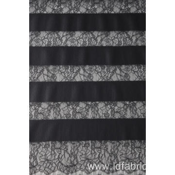 100% Nylon Stripe Panel Lace Fabric