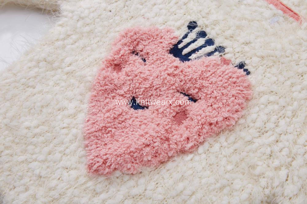 Girl's Knitted Happy Strawberry Jacquard Baby Pullover