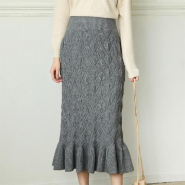 Elegant Knitted Midi Skirt