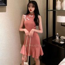 Women Retro Cheongsam Chinese Style Traditional Elegant Qipao Party Club Sexy Bodycon Vintage Korean Princess Wedding Silk Dress