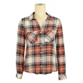 wholesale casual graphic t-shirts quality manufacturer plaid branded custom women shirts