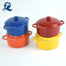 Set of 4 Ceramic Casserole Pots With Lid