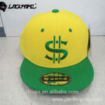 embroidery yellow and green snapback hiphop flat cap