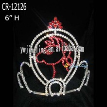 6 Inch Custom Red Rhinestone Horse Pageant Crowns