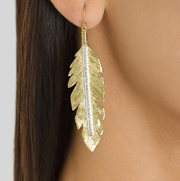 Alloy Jewelry Feather Shape Earrings