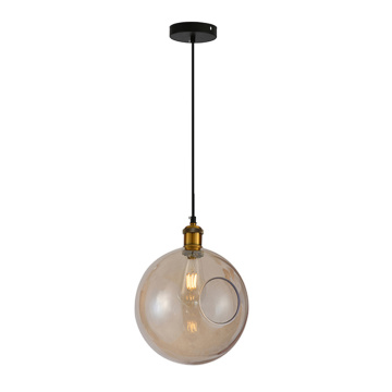 Simple Single Amber Round Glass Pendant Lamp