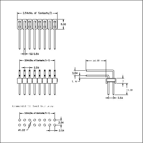 2.54 mm Pin Header Dual Row Angle ReverseType PHER04B-XXD-AB-XXX