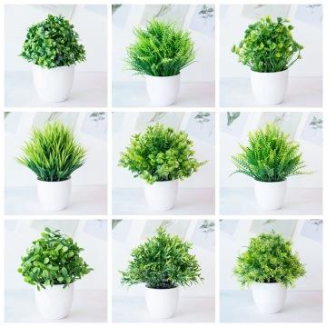 Nordic Style Artificial Green Grass Potted Plants Bonsai Home Garden Wedding Birthday Party Christmas Decor Fake Plants Bonsai