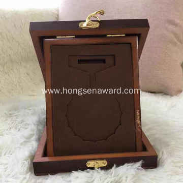 Metal medal wooden box