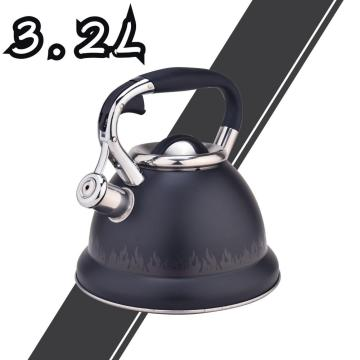 Black Flame Pattern Stainless Steel Whistling Tea Kettle