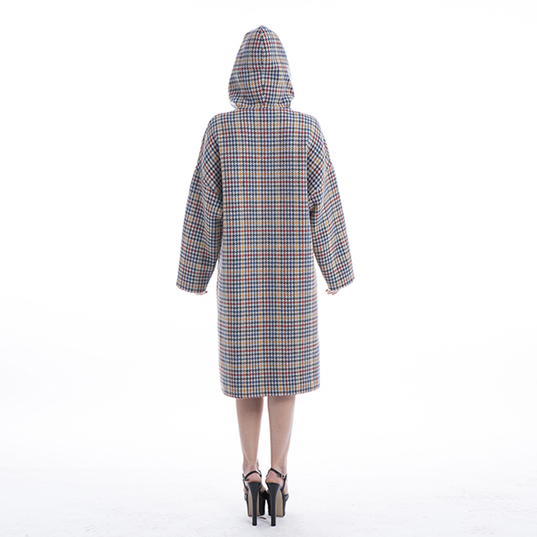 2019 Colour Checked Cashmere Winter Coat