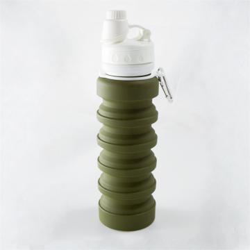 Army Green BPA-Free Foldable Silicone Water Bottle