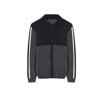 Men's Knitted Stretchable Panel Sleeve Full Zip Cardigan