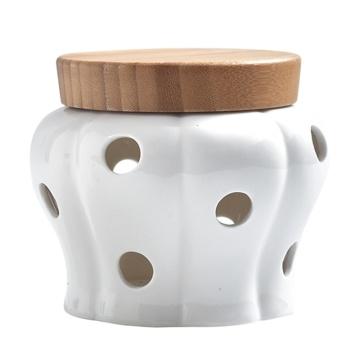 Creative Ceramic Storage Cans Garlic Ginger Storage Tank Jar Bamboo Cover Kitchen Organizer Tools Home Decoration Accessories