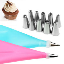 12pcs/Sets Cooking Bag + Piping Nozzles Stainless Steel Cake Decorating Tips Set Confectionery Pastry Cream Baking DIY Tools New