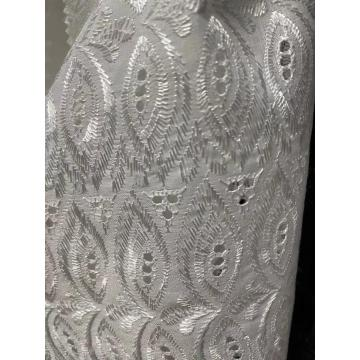 TC white bleached embroidery satin machined fabric