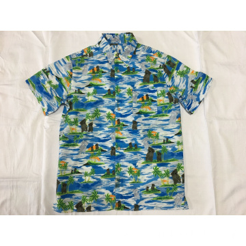 Polyester printing hawaii casual shirt